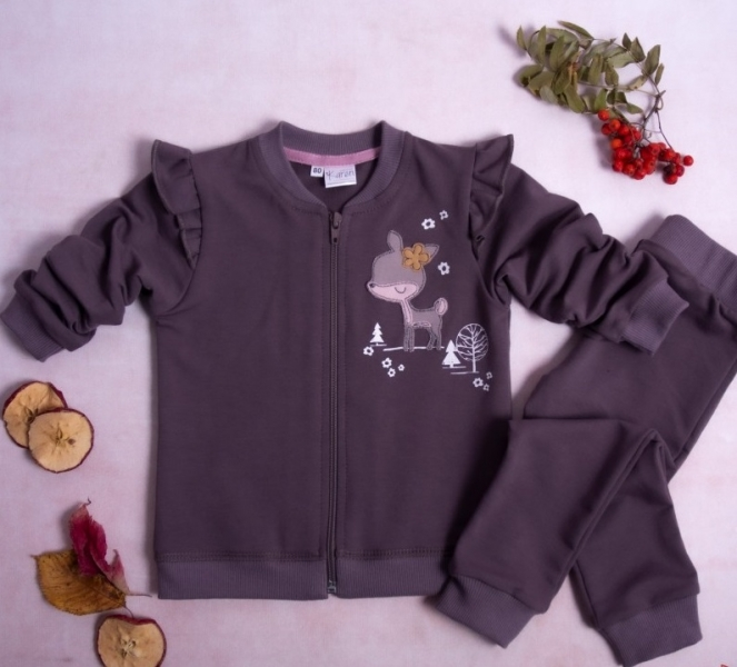 K-Baby Tepláková súprava Srnka, 2 dielna, fialovo-hnědá, vel.98-#Velikost koj. oblečení;98 (24-36m)