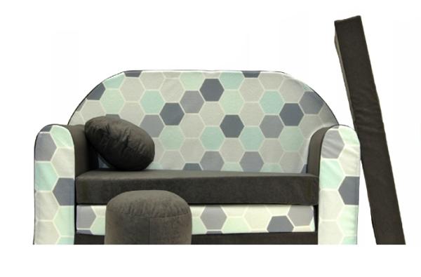 Rozkladacia detská pohovka Nellys ® A48 - Plaster, sivá / mäta