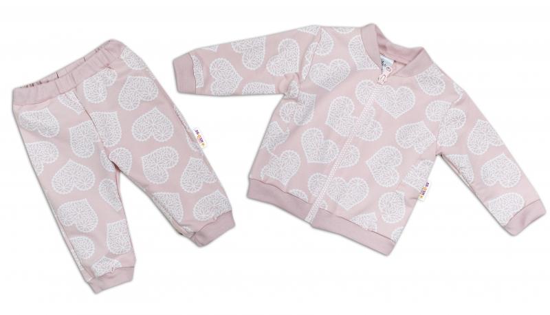 BABY NELLYS Tepláková súprava LOVE, púdrovo ružová, veľ. 80