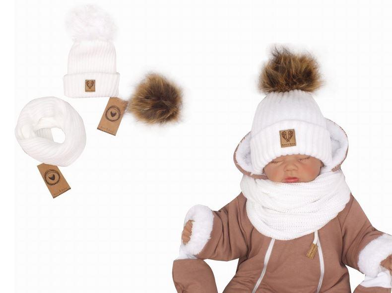 Z&Z Zimná čiapka 3v1 + komín, biela, 34-40 cm