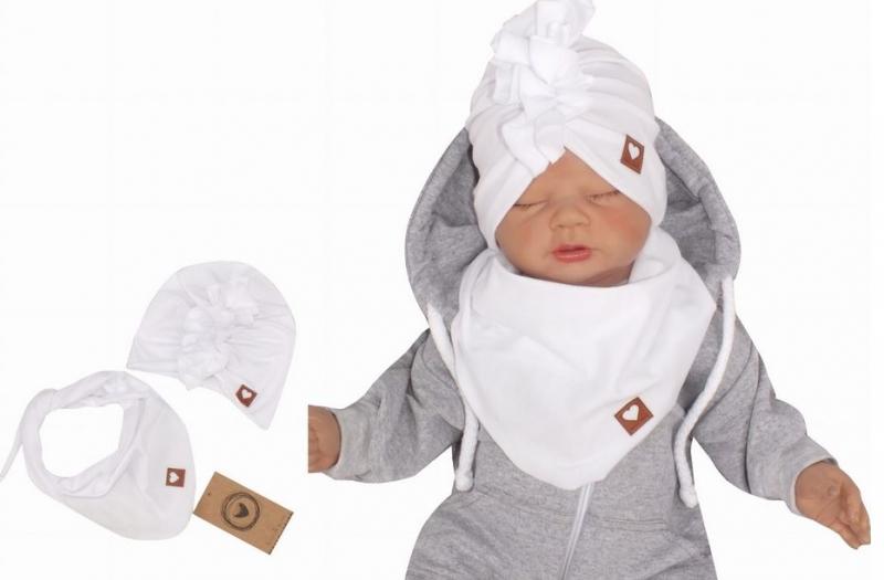 Z&Z Štýlová detská jarná / jesenná bavlnená čiapka, turban s šatkou, biela, 44/48cm