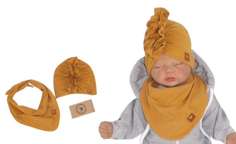 Z&Z Štýlová detská jarná / jesenná bavlnená čiapka, turban s šatkou, medová, 44/48cm