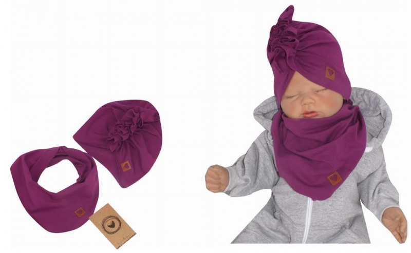 Z&Z Štýlová detská jarná / jesenná bavlnená čiapka, turban s šatkou, slivka, 44/48cm