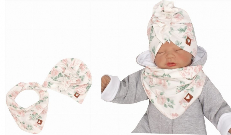 Z&Z Štýlová detská jarná / jesenná bavlnená čiapka, turban s šatkou, kvietky, 48/52cm