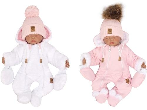 Z & Z Zimná obojstranná kombinéza s kapucňou + rukavičky, ružovo-biela, veľ. 74