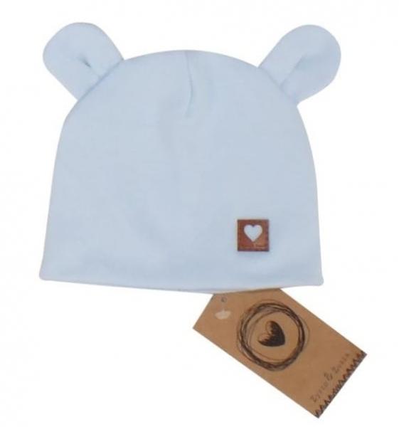 Dvojvrstvová bavlnená čiapočka LOVE TEDDY, sv. modrá, 42 / 44cm, veľ 68/74