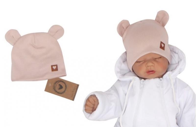 Z & Z Dvojvrstvová bavlnená čiapočka LOVE TEDDY, sv. ružová