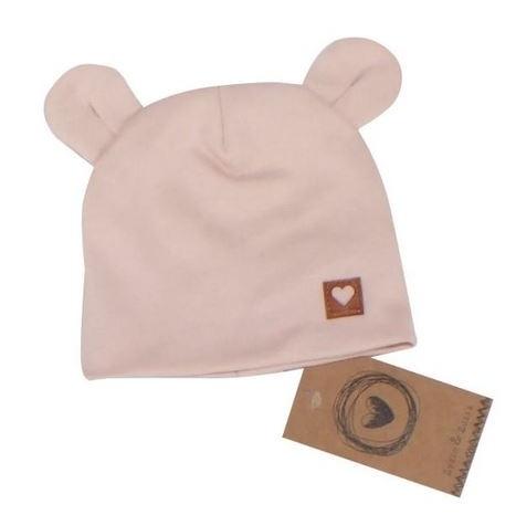 Dvojvrstvová bavlnená čiapočka LOVE TEDDY, sv. ružová, 42/44cm, veľ 68/74