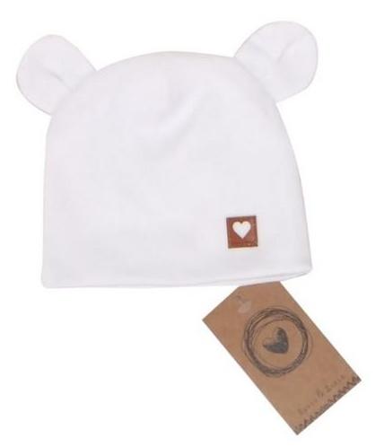 Dvojvrstvová bavlnená čiapočka LOVE TEDDY, biela, 42/44cm, veľ 68/74