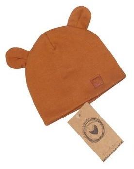 Dvojvrstvová bavlnená čiapočka LOVE TEDDY, medová horčica, 42/44cm, veľ 68/74