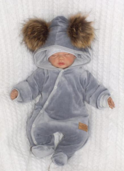 Kojenecká zimná kombinéza s kapucňou a kožušinovými brmbolcami - sivá, veľ. 74