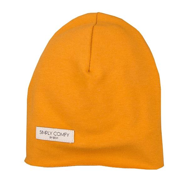 EEVI Detská jarná / jesenná bavlnená čiapka - Simply Comfy - horčicová, vel. 42-44