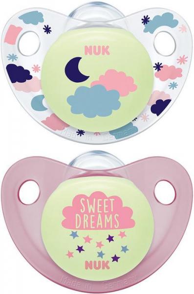 NUK Symetrický cumlík Night & Day, svietiace - Sweet dreams, růžová/biela, 0-6m +