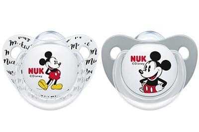 NUK Symetrický cumlík - Mickey, sivá/biela, 0-6m +