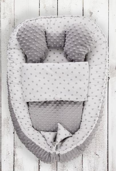 Belisima Oboustranné hnízdečko, kokon minky 60x90cm s výbavou - Sweet Baby