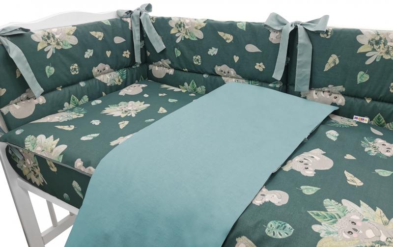 BABY NELLYS 3-dielna sada mantinel s obliečkami, Tropical Koala, zelená, 135x100cm