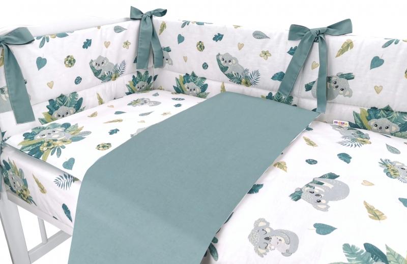 BABY NELLYS 3-dielna sada mantinel s obliečkami, Tropical Koala, zelená, biela