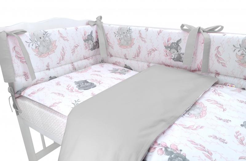 BABY NELLYS 3-dielna sada mantinel s obliečkami, LULU, ružová,šedá, 135x100 cm