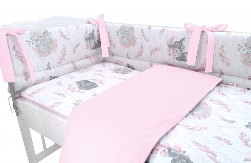 BABY NELLYS 3-dielna sada mantinel s obliečkami, LULU, ružová