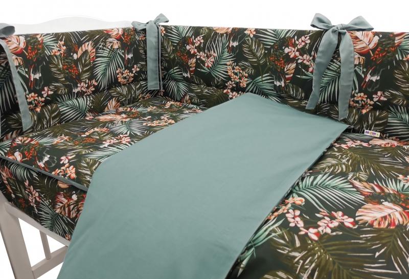 BABY NELLYS 3-dielna sada mantinel s obliečkami, Papagai, zelená, 135x100 cm