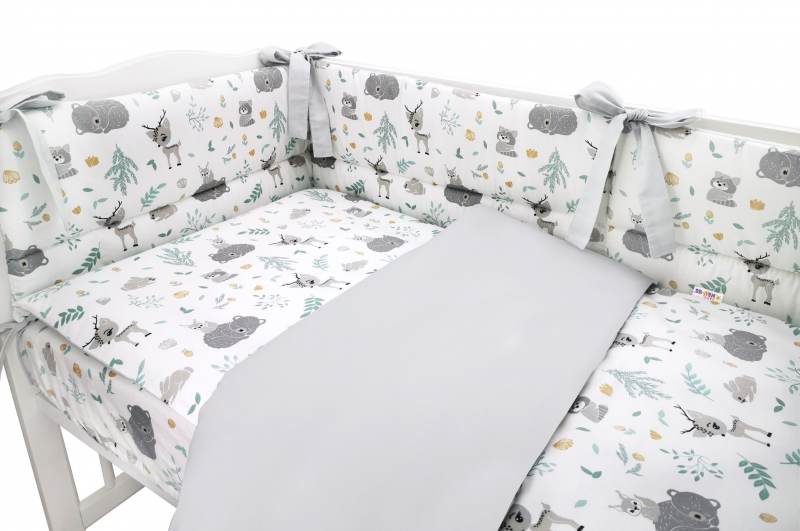 BABY NELLYS 3-dielna sada mantinel s obliečkami, New Forest Friends, šedá, 135x100 cm
