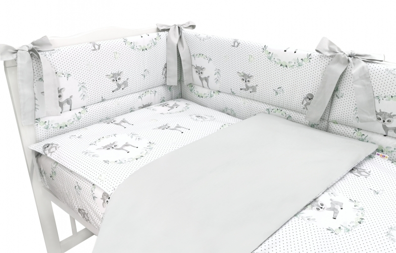 BABY NELLYS 3-dielna sada mantinel s obliečkami, Koloušek, šedá, 120x90 cm