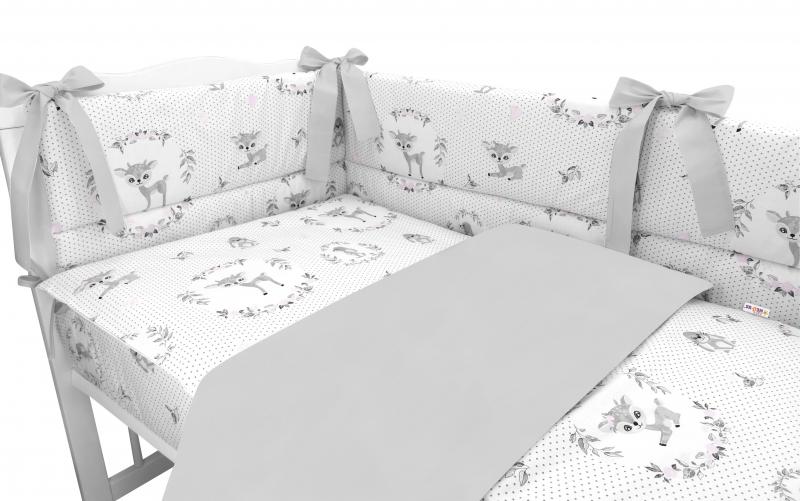 BABY NELLYS 3-dielna sada mantinel s obliečkami, Koloušek, šedá, ružová, 135x100 cm