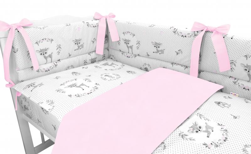 BABY NELLYS 3-dielna sada mantinel s obliečkami, Koloušek, ružová, 135x100 cm