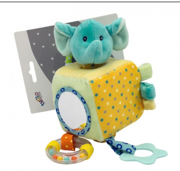 Tulilo Závesná edukačné plyšová kocka so zrkadielkom - Slon, mätový