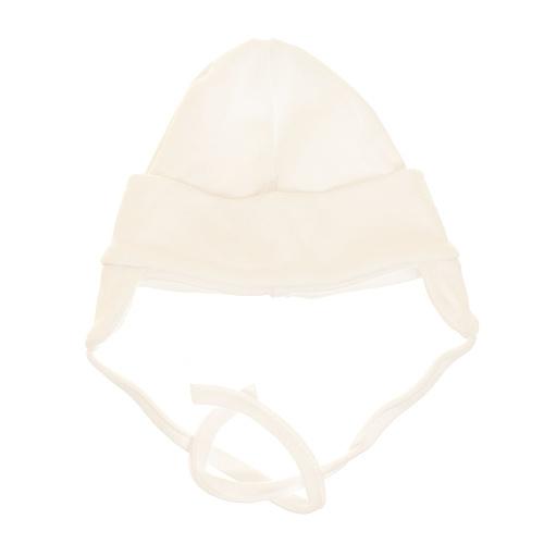 Baby Bavlnená čiapočka s uškami na zaväzovanie - bíela, veľ. 62
