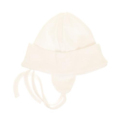 Kojenecká Bavlnená čiapočka s uškami na zaväzovanie - bíela, veľ. 68