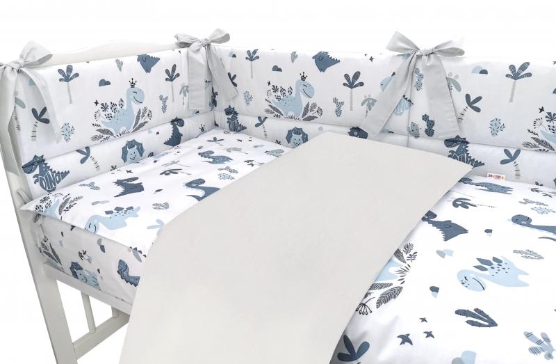 BABY NELLYS 3-dielna sada mantinel s obliečkami, Dino, granát, šedý, 135x100 cm