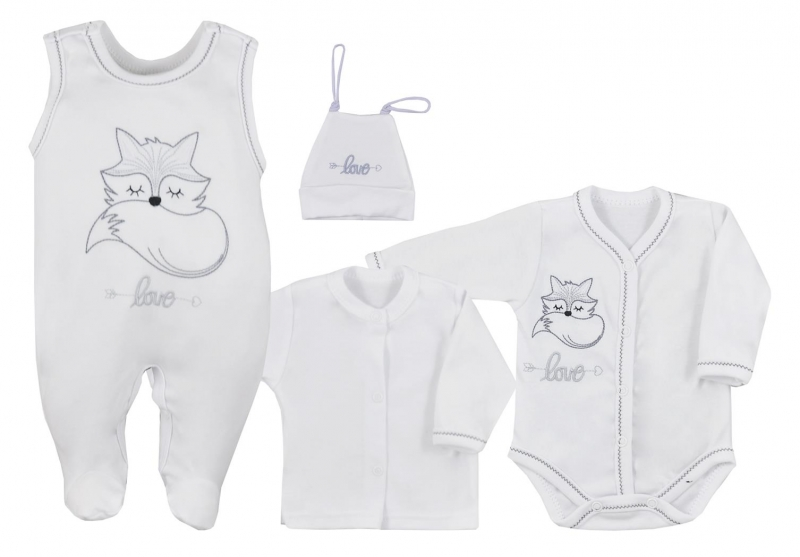 Koala Baby 4- dílná bavlněná soupravička do porodnice Fox Love - biela