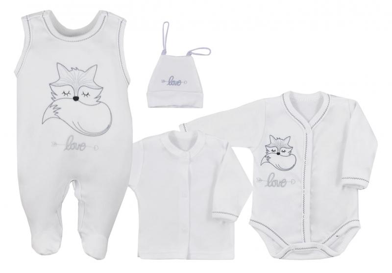 Koala Baby 4- dílná bavlněná soupravička do porodnice Fox Love - biela, veľ. 62
