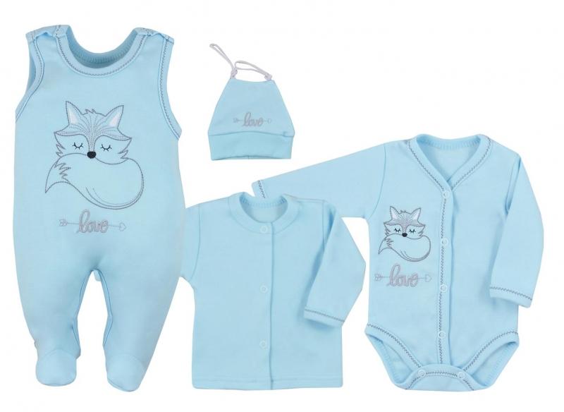 Koala Baby 4- dílná bavlněná soupravička do porodnice Fox Love - modrá, veľ. 62