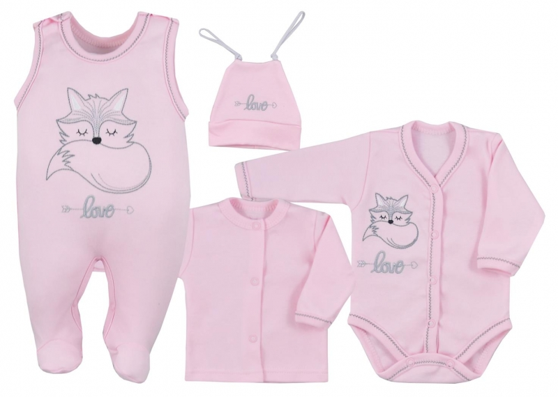 Koala Baby 4- dílná bavlněná soupravička do porodnice Fox Love - ružová