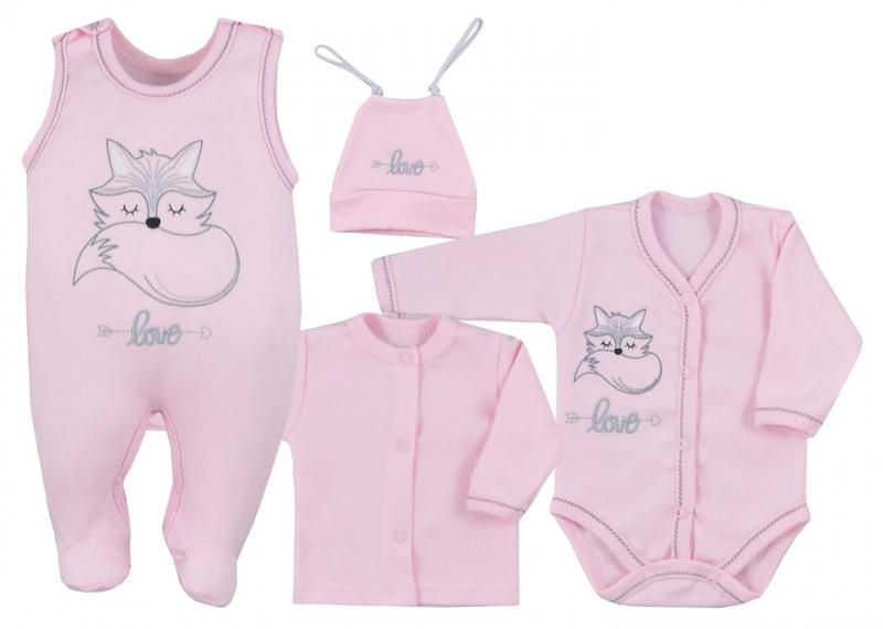 Koala Baby 4- dílná bavlněná soupravička do porodnice Fox Love - ružová, veľ. 62