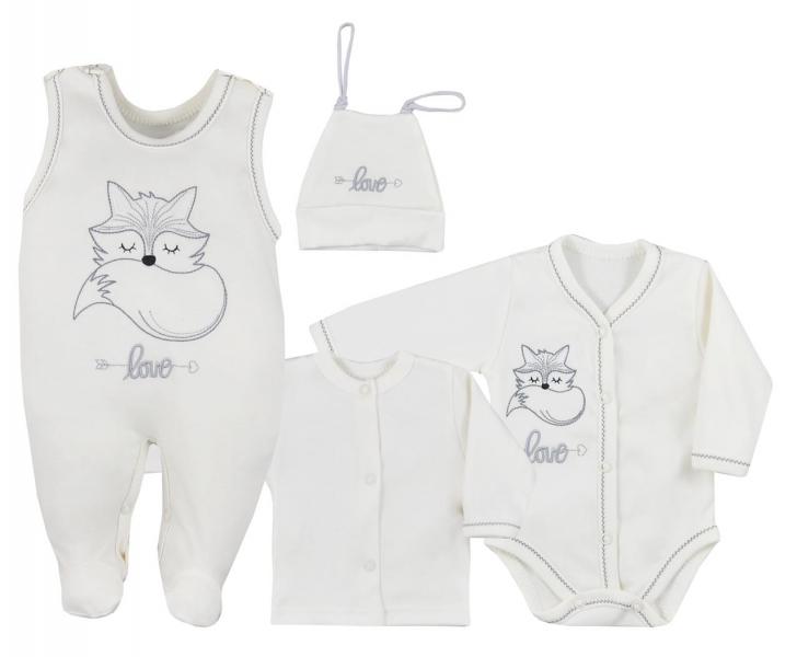 Koala Baby 4- dílná bavlněná soupravička do porodnice Fox Love - ecru