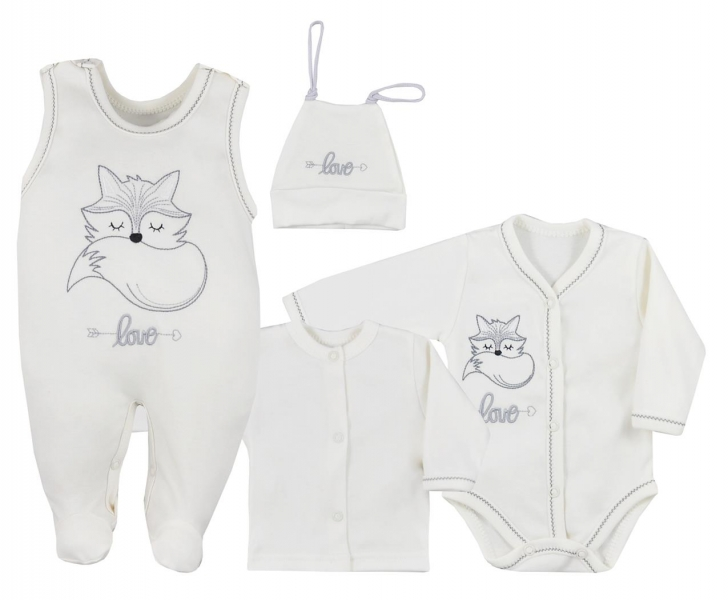Koala Baby 4- dílná bavlněná soupravička do porodnice Fox Love - ecru, veľ. 62