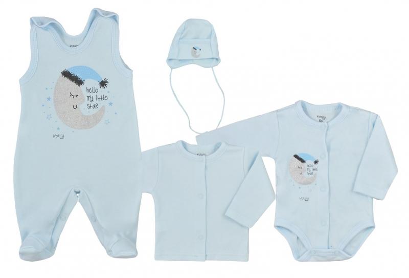 Kojenecká 4- dielna bavlnená súprava do porodnice Moon - modrá, vel. 68