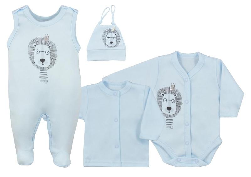 Koala Baby 4- dílná bavlněná soupravička do porodnice Simba - modrá