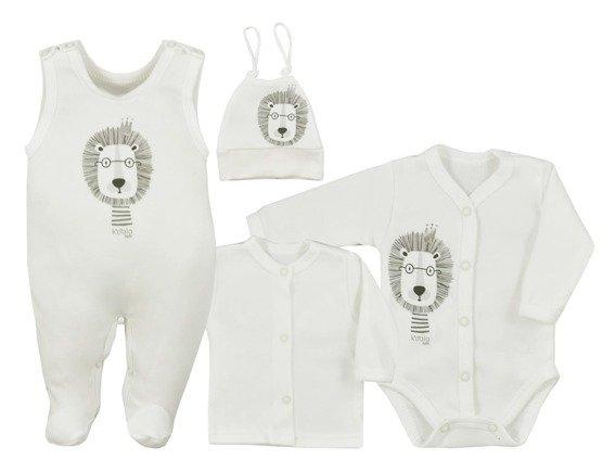 Koala Baby 4- dílná bavlněná soupravička do porodnice Simba - ecru-#Velikost koj. oblečení;50 (0-1m)
