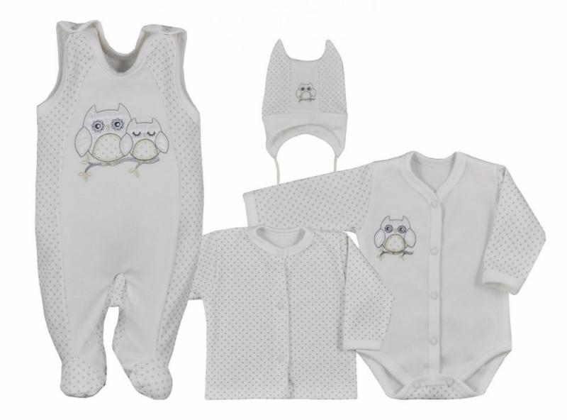 Koala Baby 4- dílná bavlněná soupravička do porodnice Sovička - ecru, veľ. 56