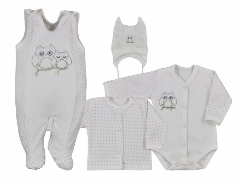 Koala Baby 4- dílná bavlněná soupravička do porodnice Sovička - ecru, veľ. 62
