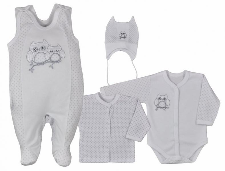 Koala Baby 4- dílná bavlněná soupravička do porodnice Sovička - biela, veľ. 68-#Velikost koj. oblečení;68 (4-6m)