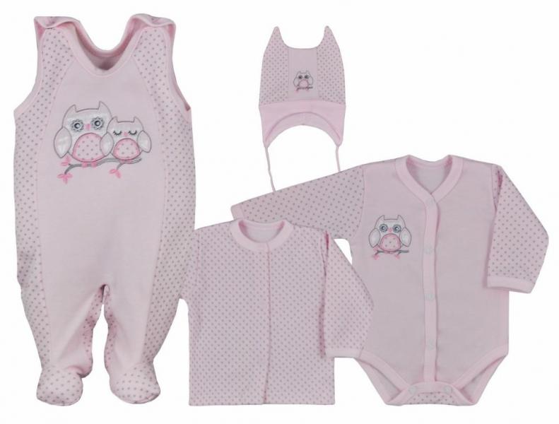 Koala Baby 4- dílná bavlněná soupravička do porodnice Sovička - ružová, veľ. 68