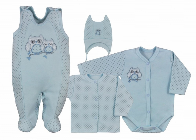 Koala Baby 4- dílná bavlněná soupravička do porodnice Sovička - modrá, veľ. 68
