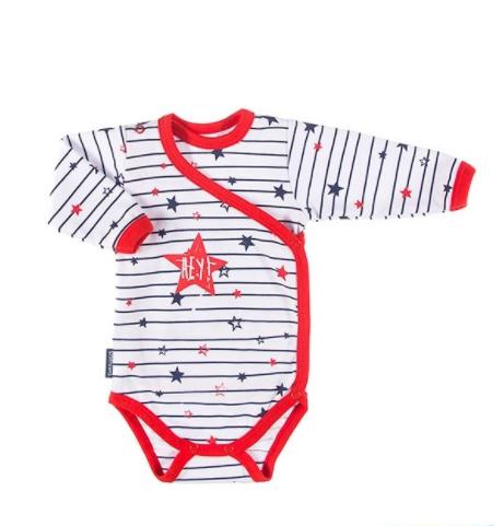 Dojčenské body dlhý rukáv, zapínanie bokom Hviezdičky - červený lem, veľ56