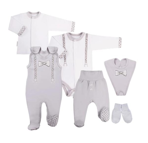 EEVI 6-dielna dojčenská súpravička do pôrodnice Kšírky - sivá-#Velikost koj. oblečení;50 (0-1m)