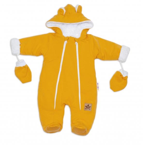 Baby Nellys Zimní kombinézka, s kapucňou a uškami + rukavičky, horčicová, vel. 62